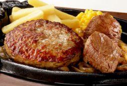 炭焼きやわらかカットステーキとブロンコハンバーグランチ