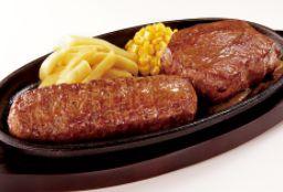 ◆炭焼きやわらかランチステーキ&がんこハンバーグコンビ