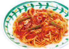 あさり・イカとインゲンのトマトソース